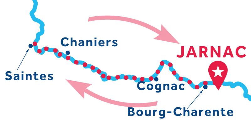 Jarnac RETURN via Cognac & Saintes