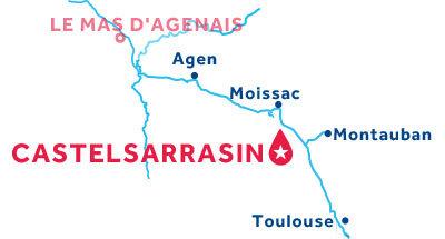 Carte de situation de la base de Castelsarrasin