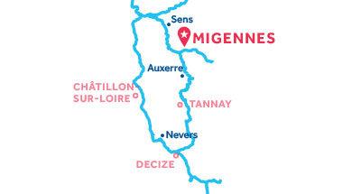 Carte de situation de la base de Migennes