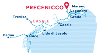 Carte de situation de la base de Precenicco