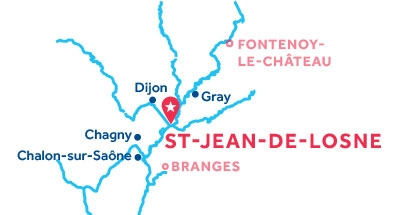 Carte de situation de la base de Saint-Jean-de-Losne