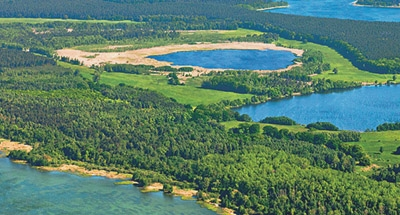 Vue aérienne sur les lacs allemands