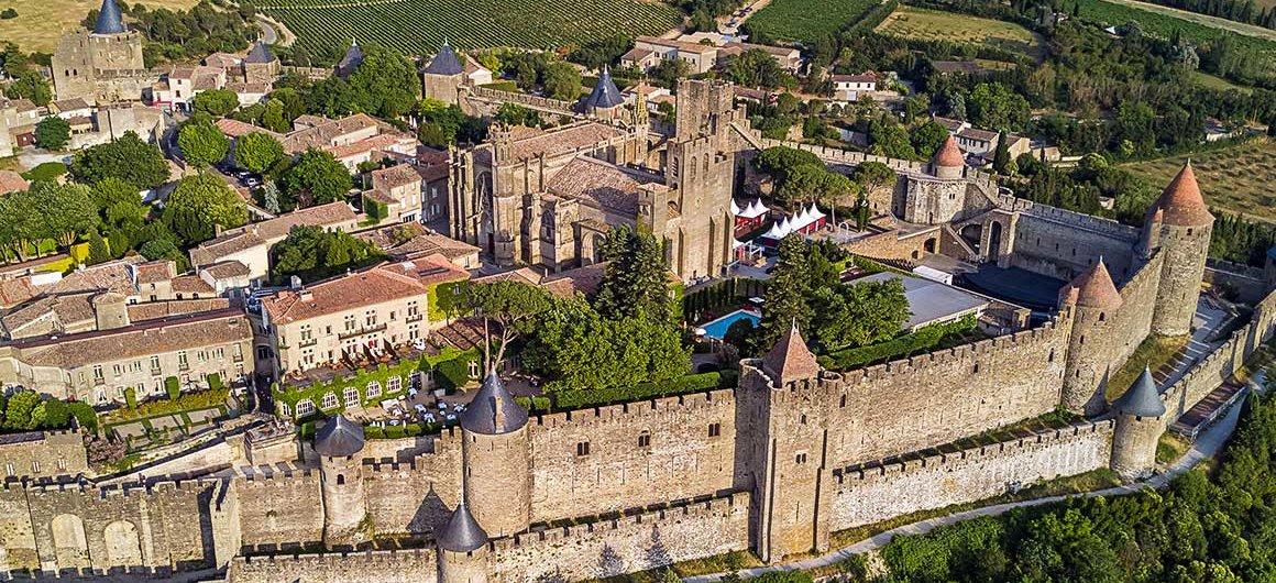 Vue aérienne de Carcassonne, Canal du Midi