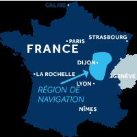 Carte indiquant la zone de navigation en Bourgogne Franche-Comté en France