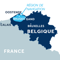 Carte indiquant la zone de navigation en Flandre en Belgique