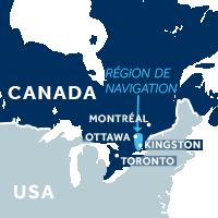 Carte indiquant la zone de navigation sur le Canal Rideau au Canada