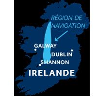 Carte indiquant les zones de navigation sur le Shannon & Erne en Irlande