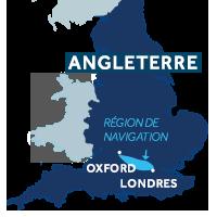 Carte indiquant la zone de navigation sur la Tamise en Angleterre